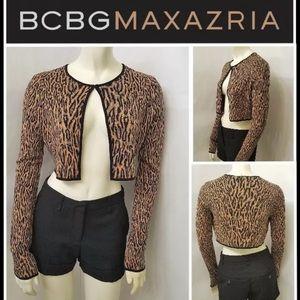 BCBG MAX AZRIA Crop Lanai Leopard Sweater NWT